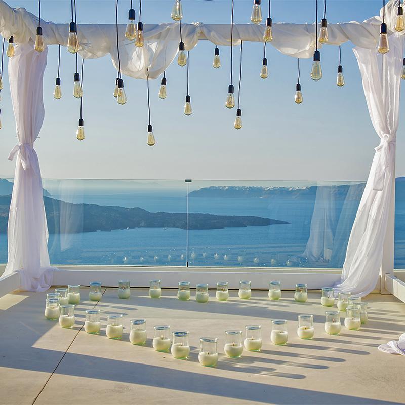 santorini wedding lights